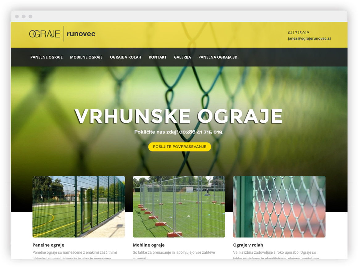 Ograje Runovec izdelava spletne strani po kupljeni predlogi