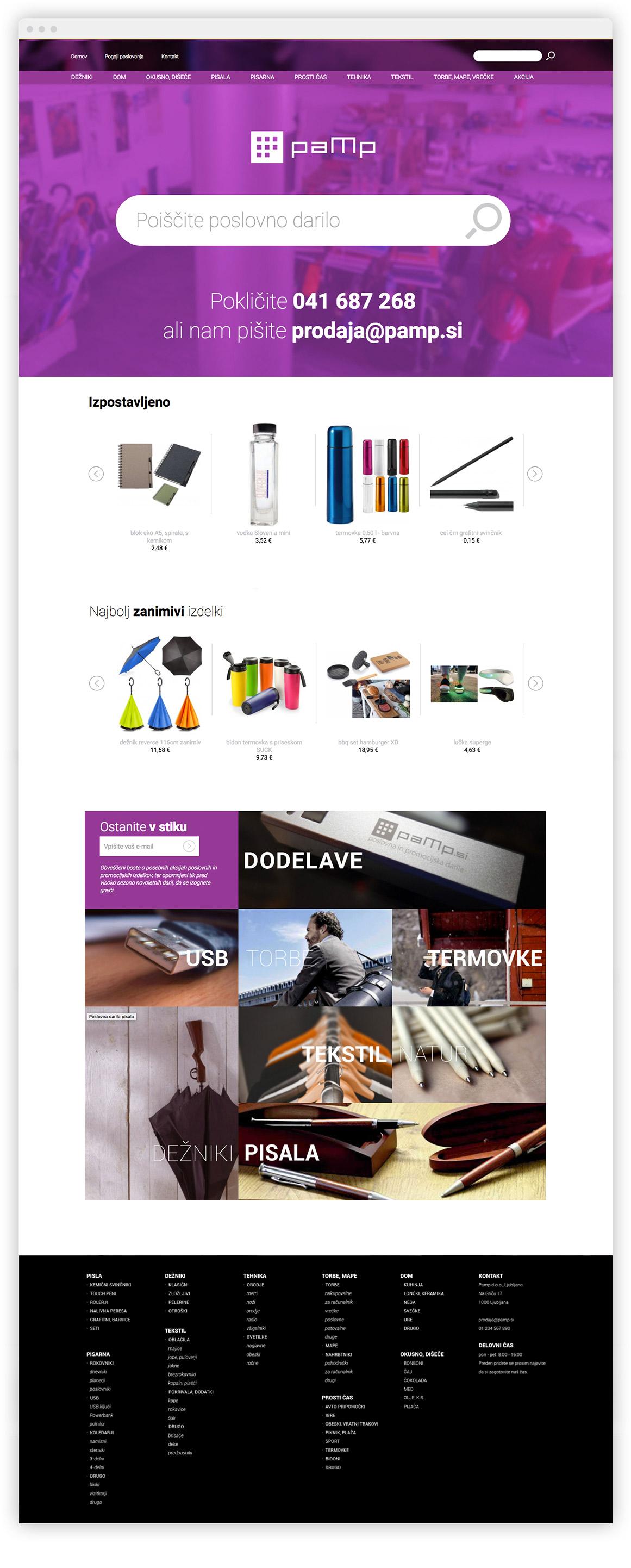 Izdelava spletne trgovine Pamp